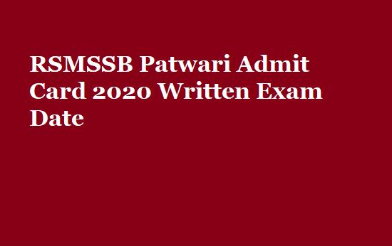 RSMSSB Patwari Admit Card 2020 Written Exam Date | राजस्थान पटवारी कॉल लेटर
