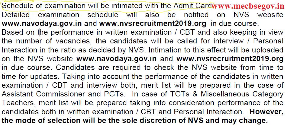Navodaya Vidyalaya Samiti Syllabus 2019