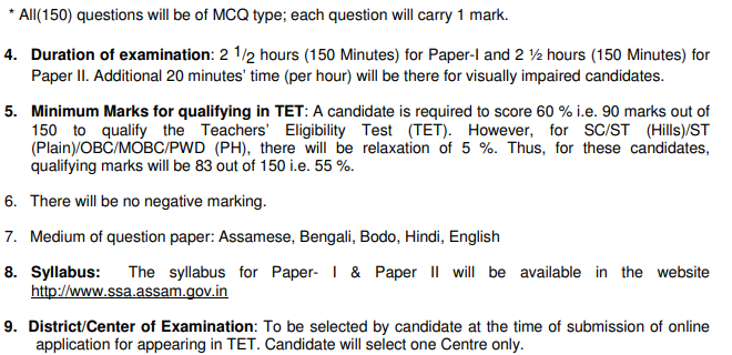 Assam LP / UP TET Admit Card 2019