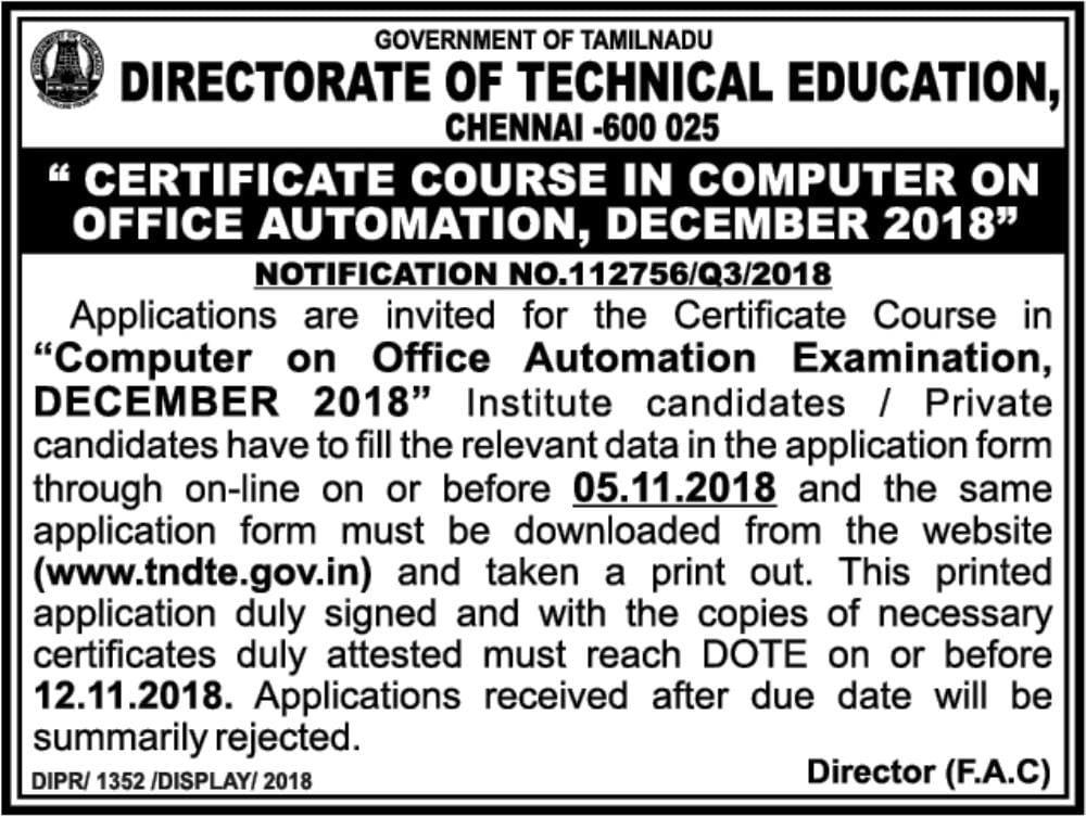 TNDTE COA Registration December 2019