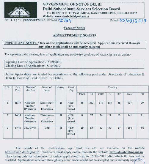 DSSSB Assistant Teacher Recruitment 2019