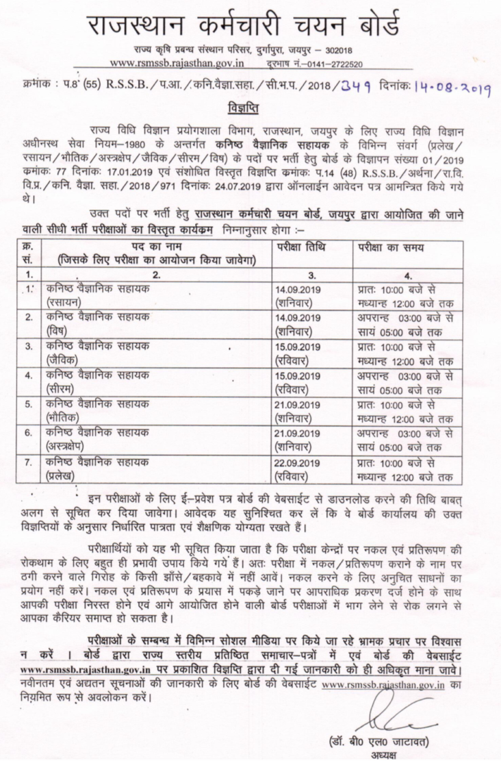 RSMSSB Junior Scientific Assistant Result