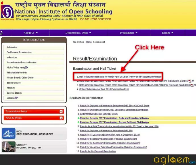 NIOS 10th Admit Card October