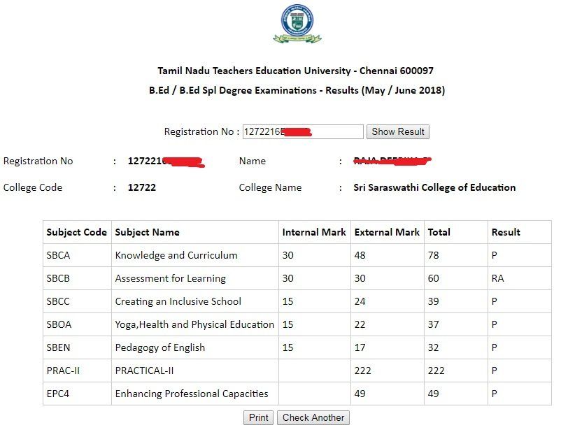 TNTEU B.Ed Exam Result 2021