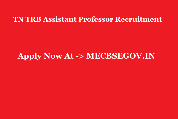 TN TRB Assistant Professor Recruitment 2019 @ TRB.TN.NIC.IN