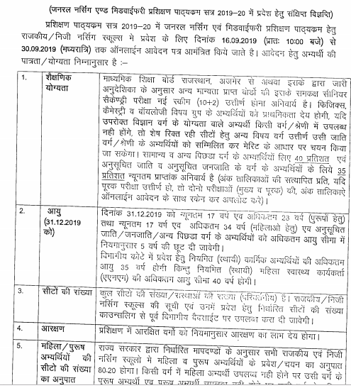 Rajasthan GNM Counselling 2019