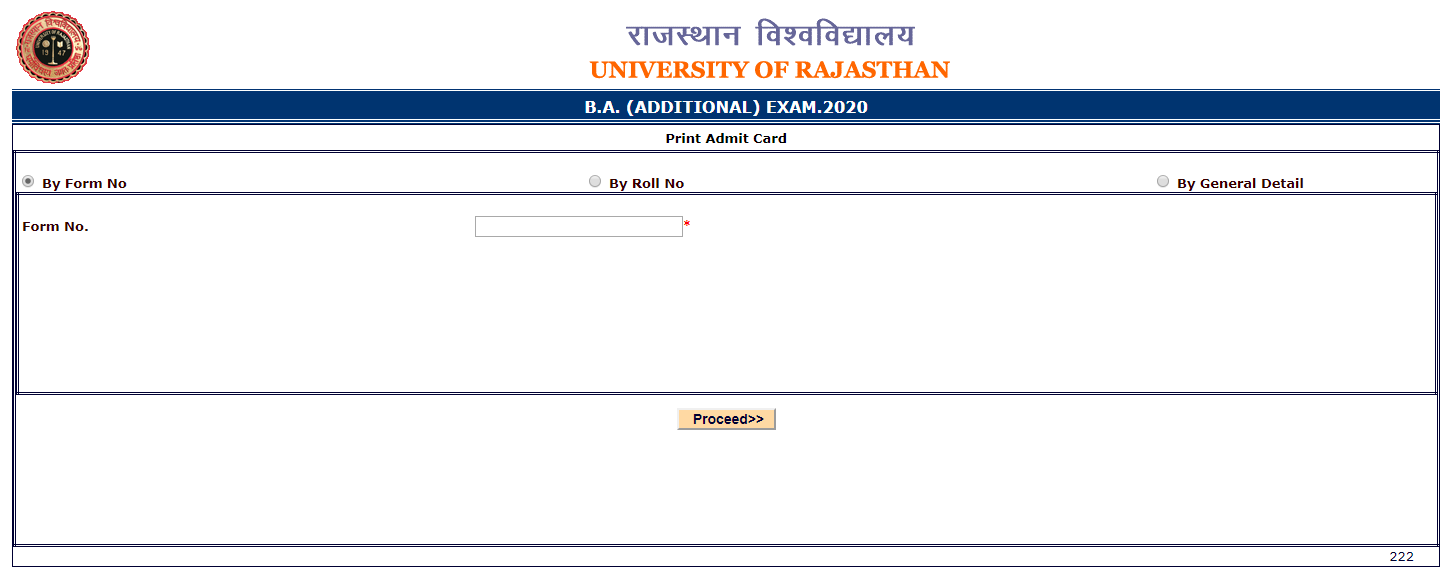 Uniraj Admit Card 2020 Name Wise univraj,org