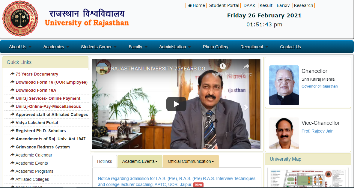 Rajasthan University Result B.A 1st year