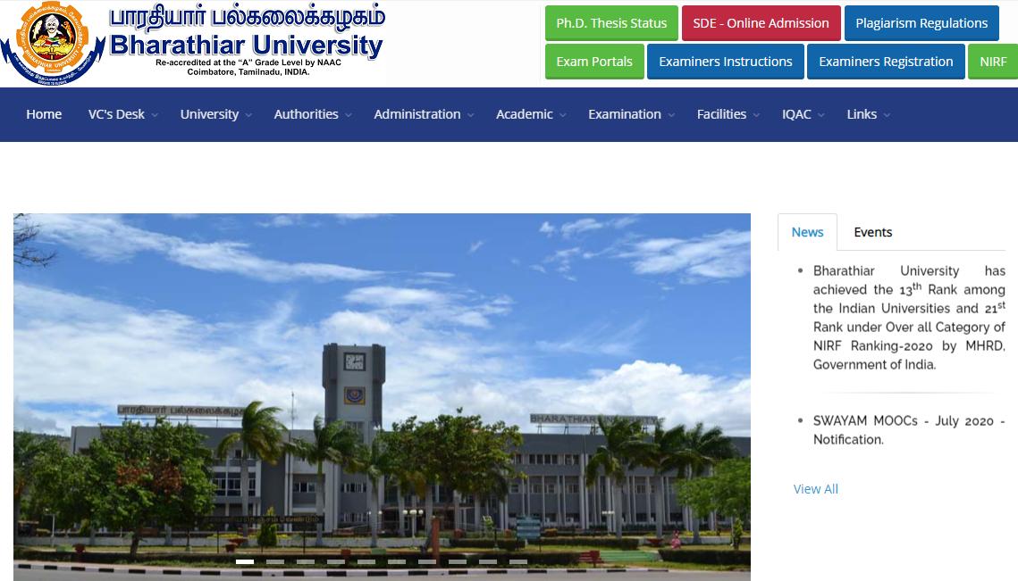 Bharathiar University B.A 1st Year Time Table 2021