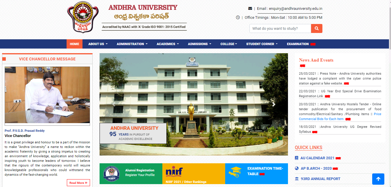 Andhra University BA 2nd Year Time Table