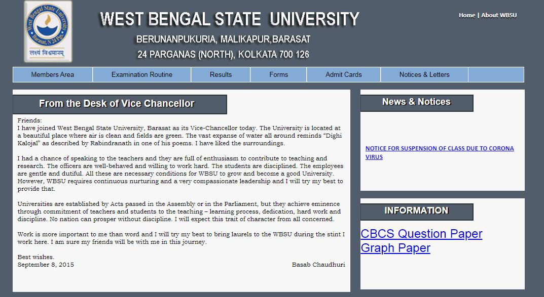 WBSU Kolkata BA 2nd Year Time Table
