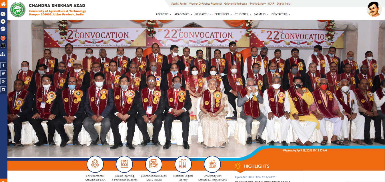 CSAUK Kanpur BA 2nd Year Time Table