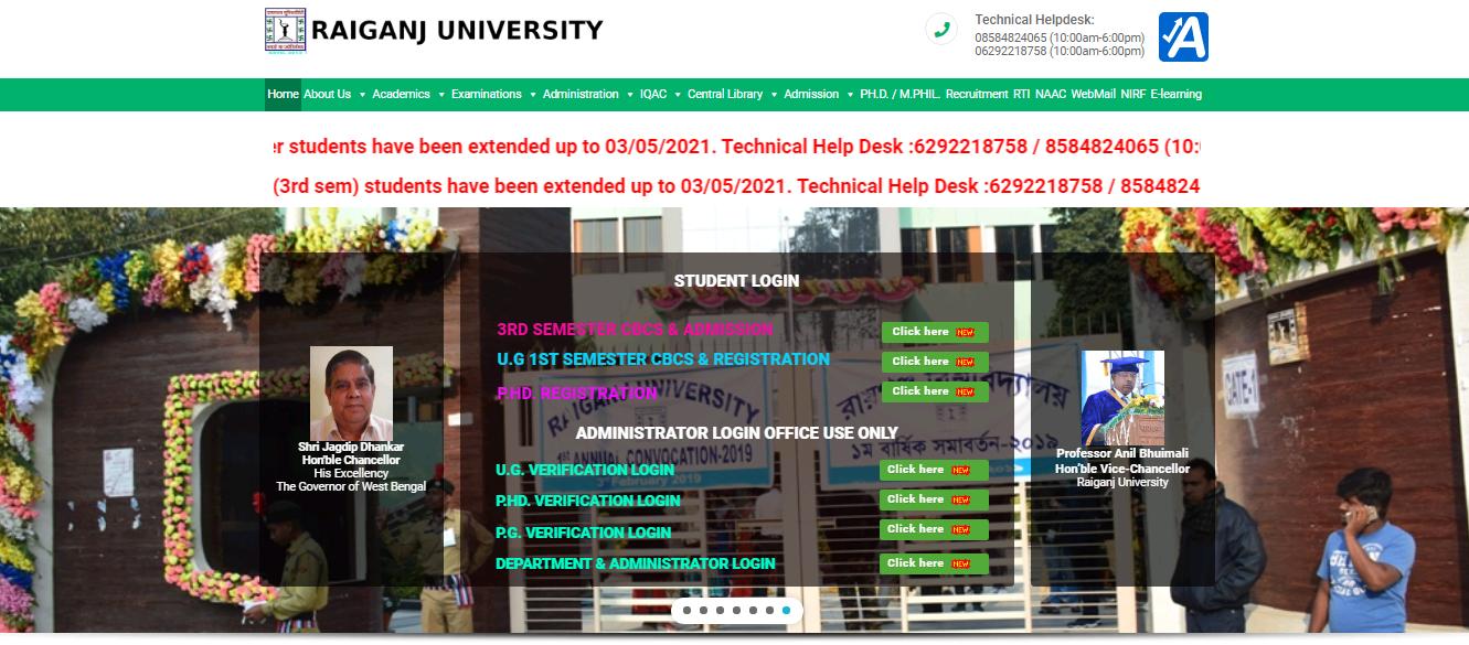 Raiganj University BA 2nd Year Time Table