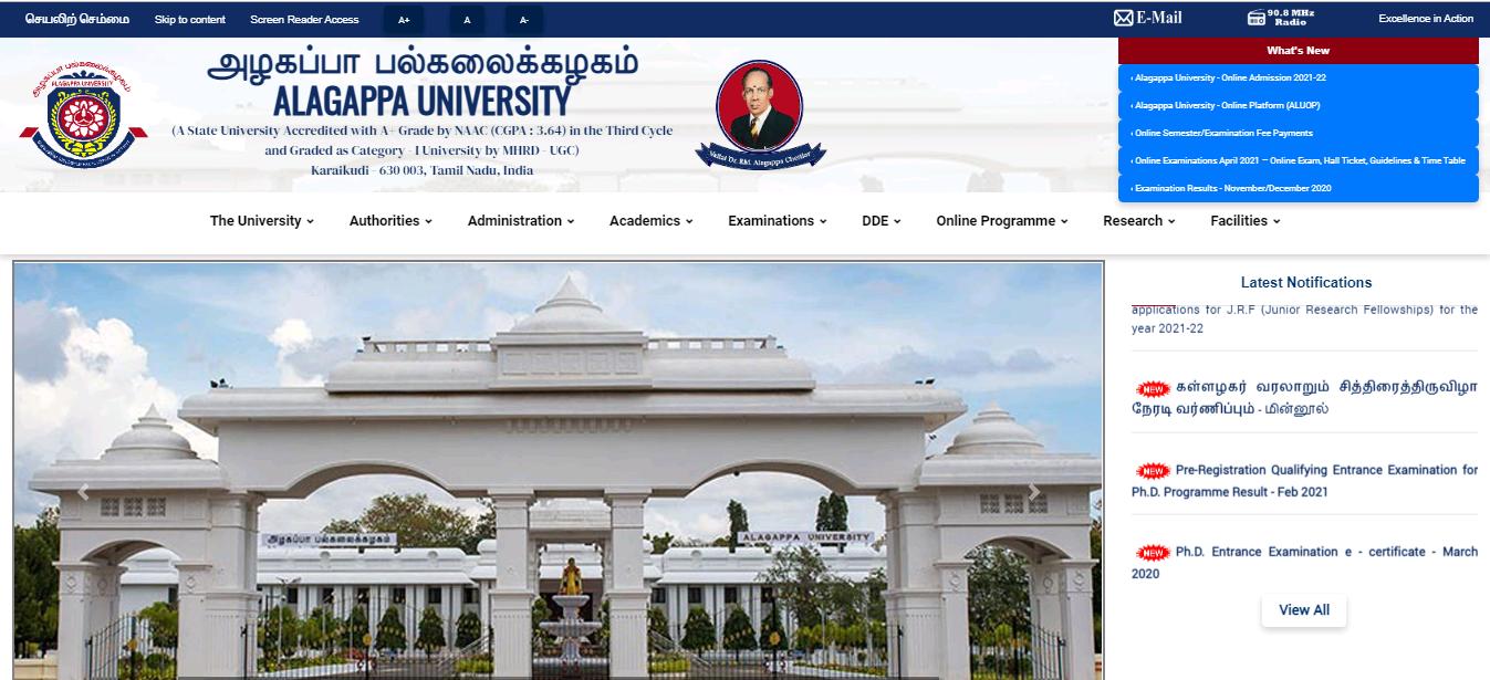Alagappa University BA 2nd Year Time Table