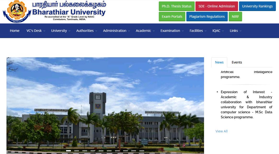 Bharathiar University BA 3rd Year Time Table 2021