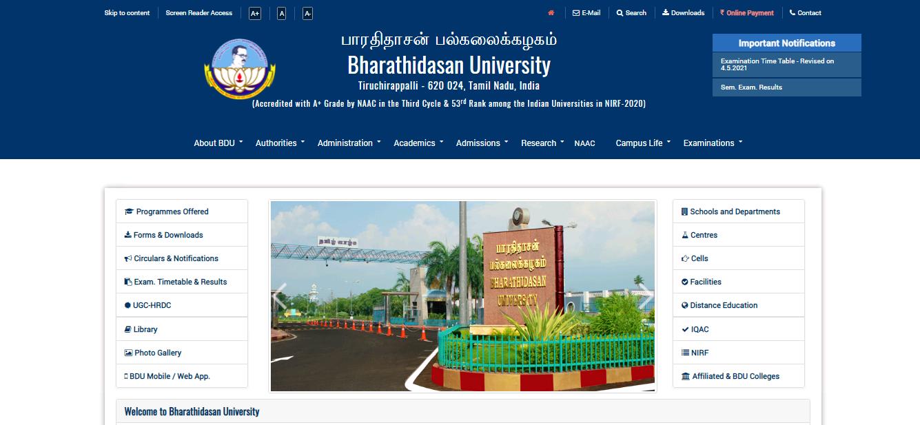 Bharathidasan University BA 2nd Year Time Table