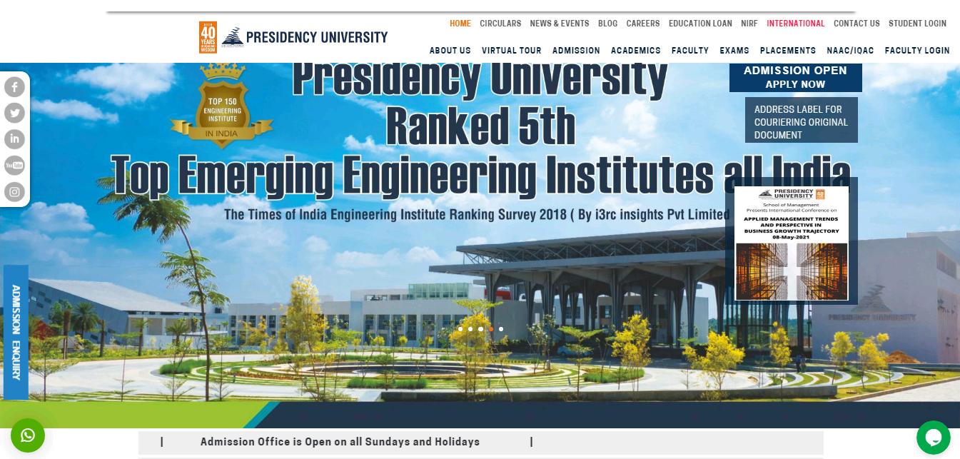Presidency University BA 2nd Year Time Table