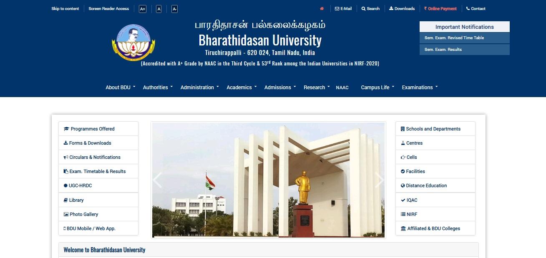 Bharathidasan University BA Part 3rd Year Result NC / Regular 2021