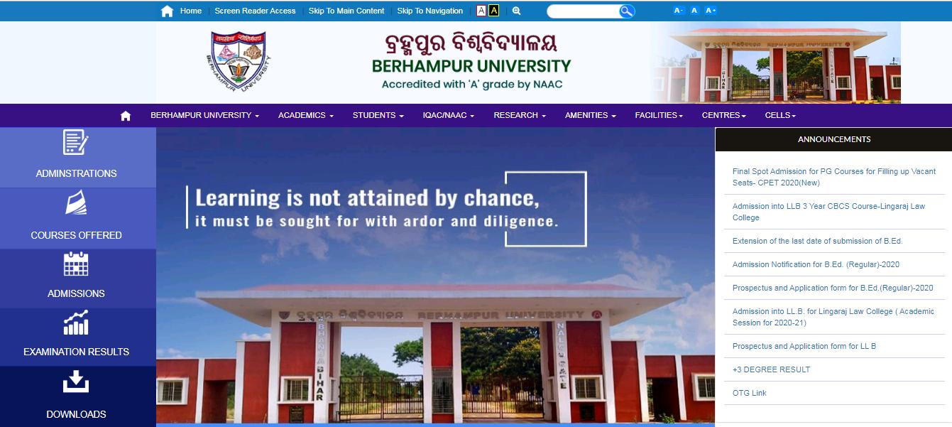 Berhampur University BA 2nd Year Time Table