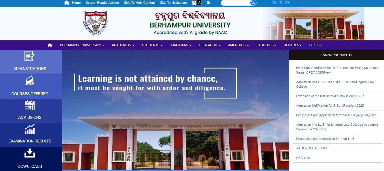 Berhampur University BA Part 3rd Year Result NC / Regular 2021