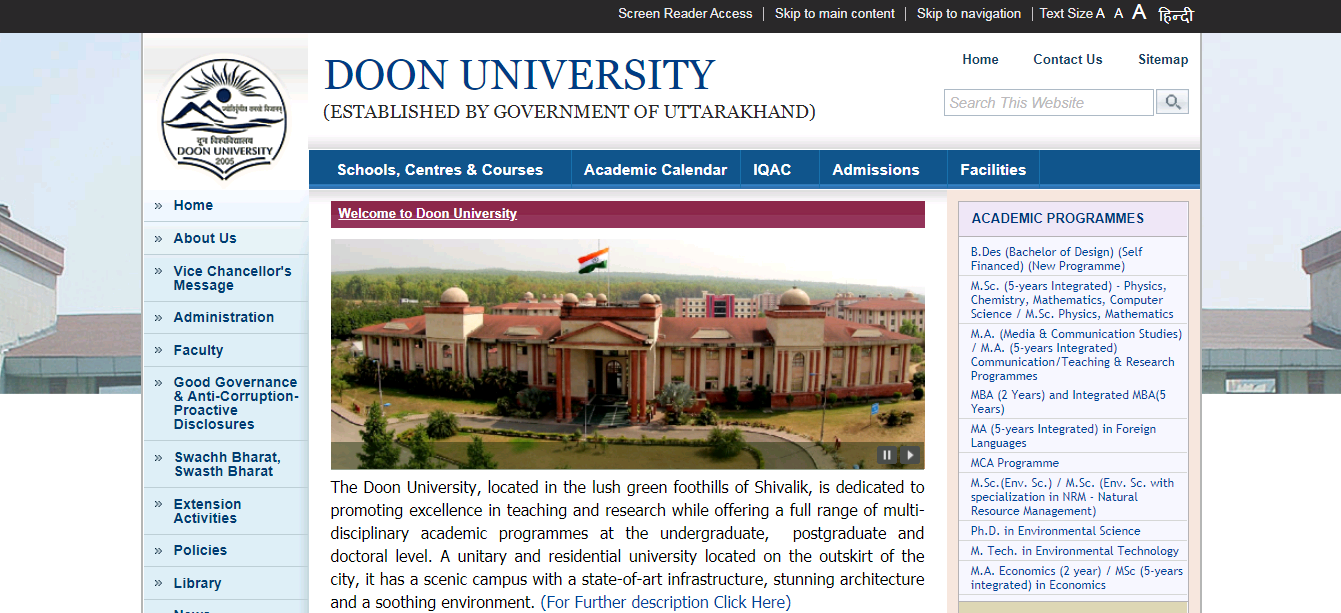 Doon University BA 2nd Year Time Table
