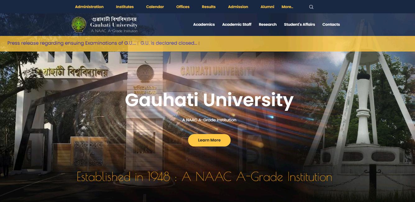 Gauhati University BA 2nd Year Time Table