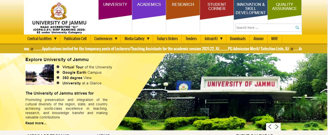 Jammu University BA 2nd Year Time Table