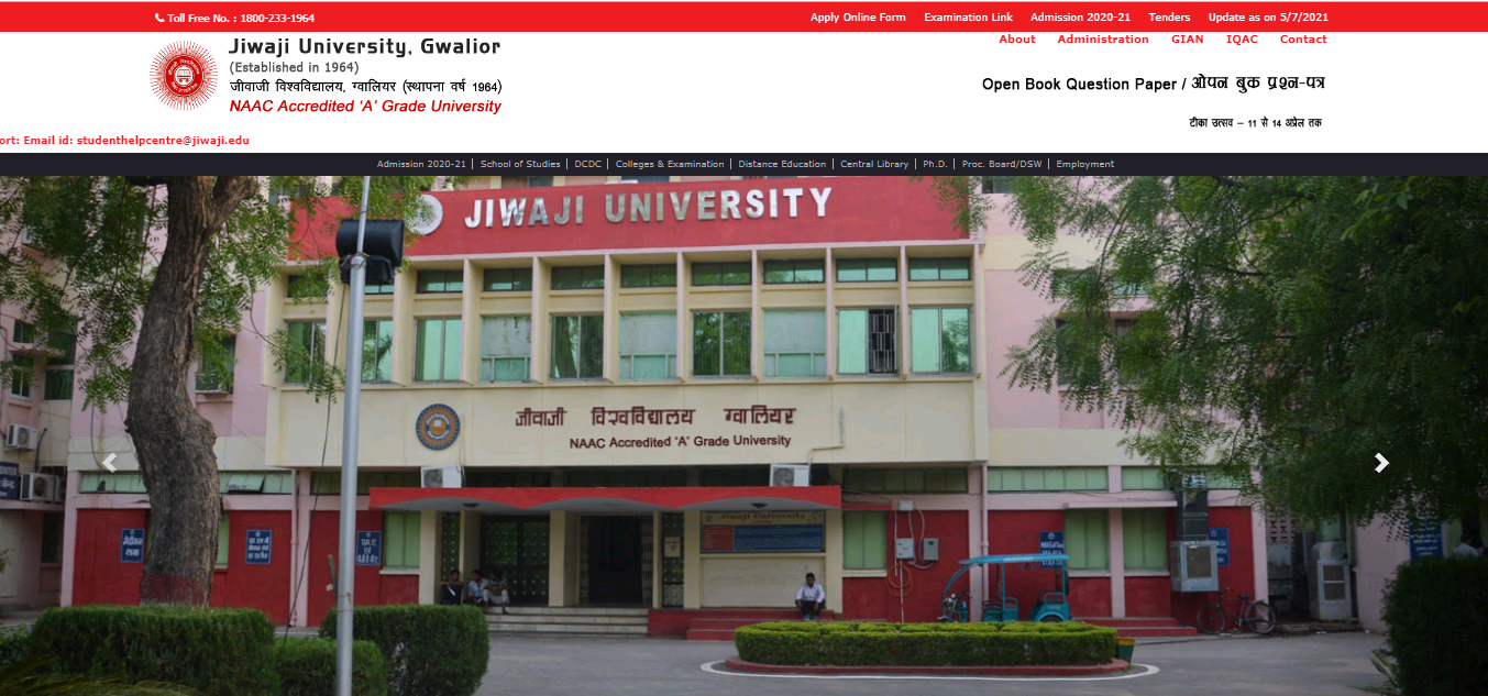 Jiwaji University BA 2nd Year Time Table