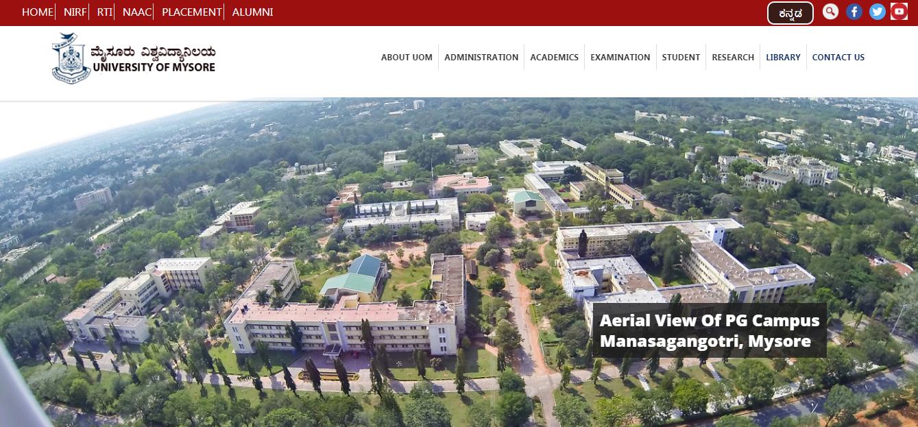 Mysore University BA 2nd Year Time Table