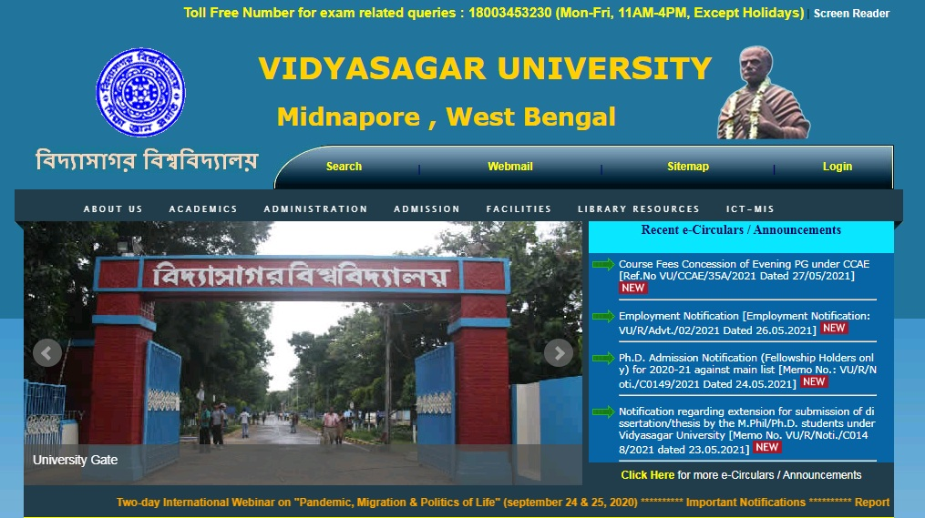 Vidyasagar University BA Part 3rd Year Result NC / Regular 2021