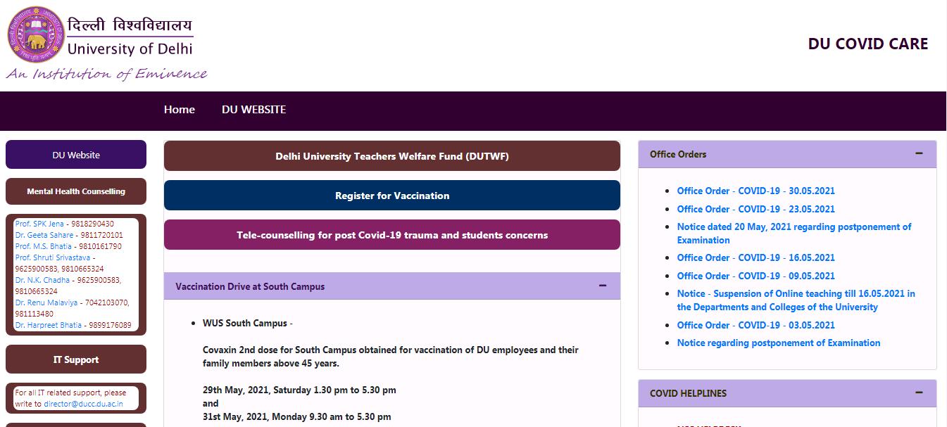 Delhi University BA 1st year Time Table 2021