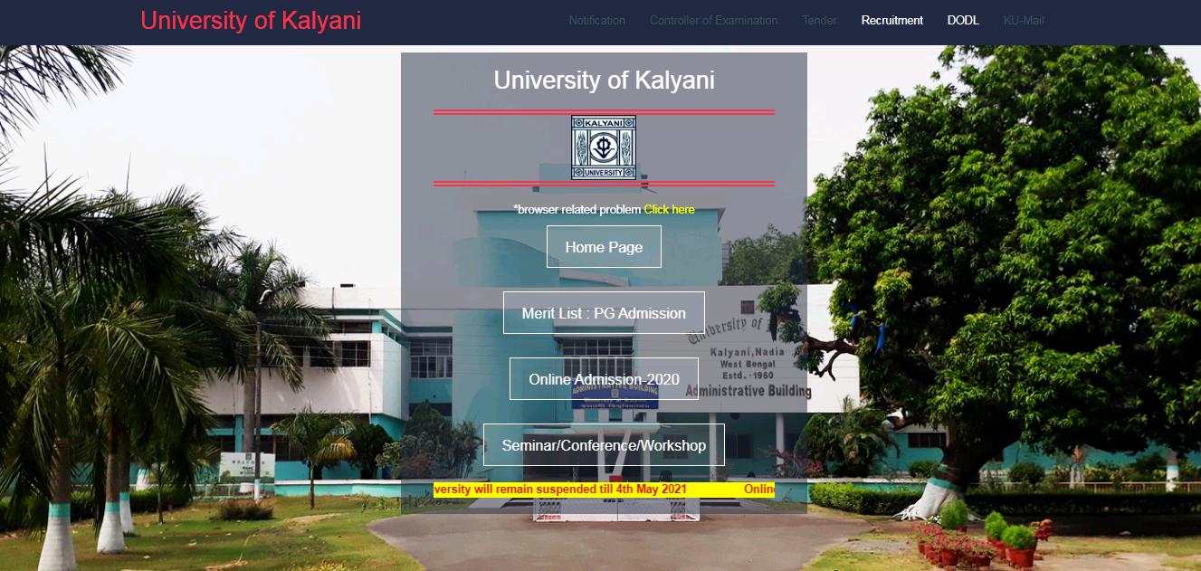 Kalyani University BA 1st year Time Table 2021