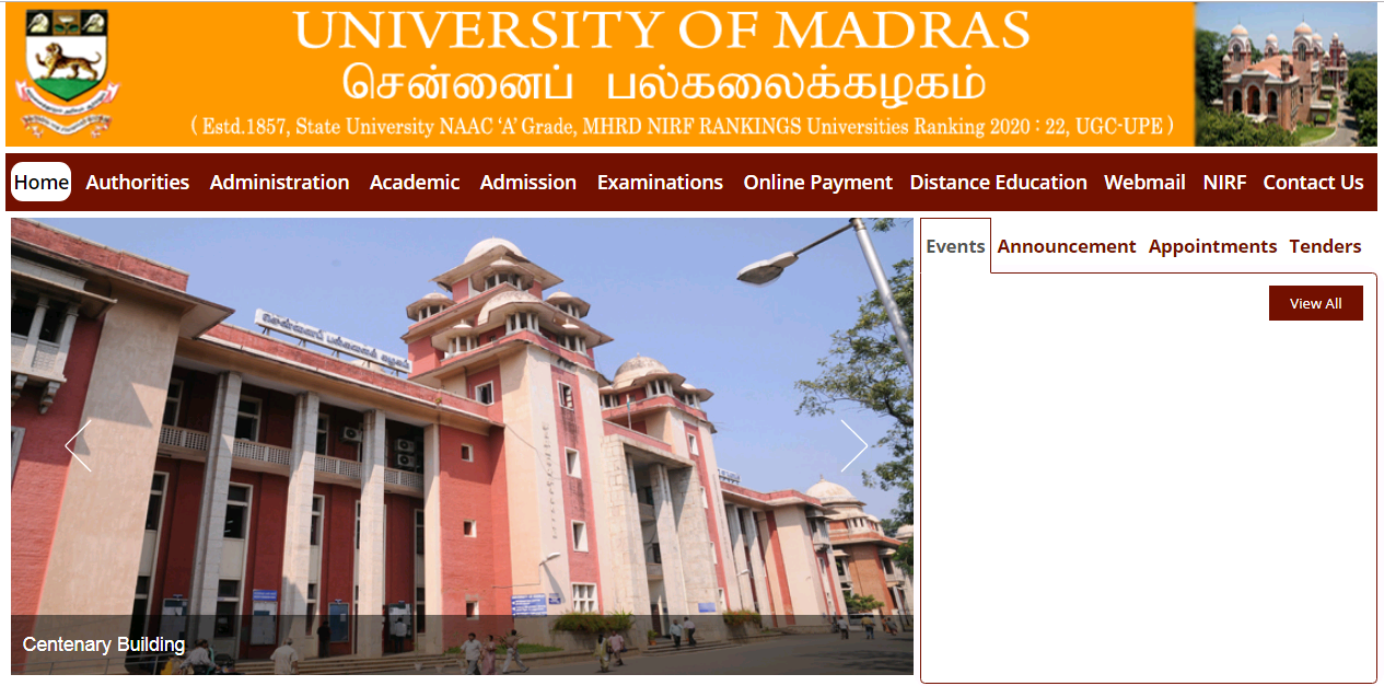 Madras University BA 1st year Time Table