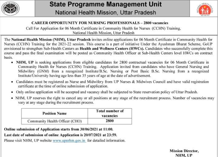 NHM UP Application Form 2021