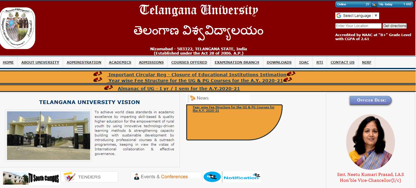 Telangana University BA 1st year Time Table